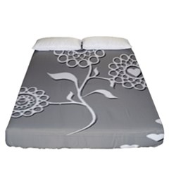 Flower Heart Plant Symbol Love Fitted Sheet (California King Size)