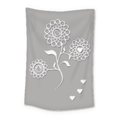 Flower Heart Plant Symbol Love Small Tapestry