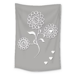 Flower Heart Plant Symbol Love Large Tapestry