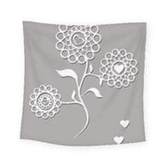 Flower Heart Plant Symbol Love Square Tapestry (Small)