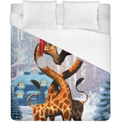 Christmas, Giraffe In Love With Christmas Hat Duvet Cover (california King Size) by FantasyWorld7
