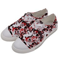 Cloudy Skulls White Red Men s Low Top Canvas Sneakers by MoreColorsinLife
