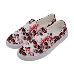 Cloudy Skulls White Red Women s Canvas Slip Ons by MoreColorsinLife