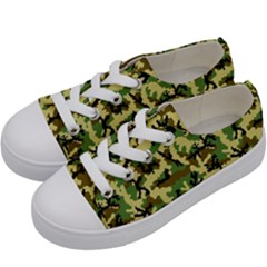 Camo Woodland Kids  Low Top Canvas Sneakers by sifis