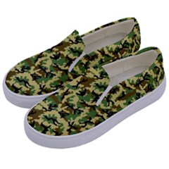 Camo Woodland Kids  Canvas Slip Ons by sifis