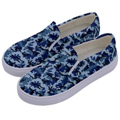 Navy Camouflage Kids  Canvas Slip Ons by sifis