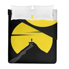 Man Mountain Moon Yellow Sky Duvet Cover Double Side (full/ Double Size)