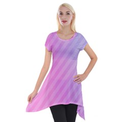 Diagonal Pink Stripe Gradient Short Sleeve Side Drop Tunic