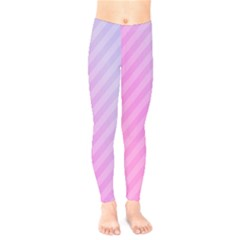 Diagonal Pink Stripe Gradient Kids  Legging by Nexatart