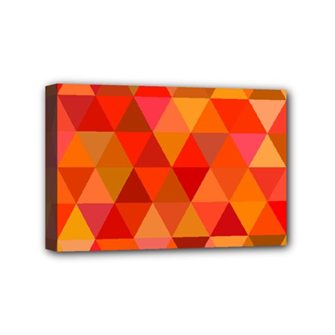 Red Hot Triangle Tile Mosaic Mini Canvas 6  X 4