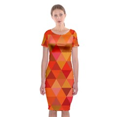 Red Hot Triangle Tile Mosaic Classic Short Sleeve Midi Dress