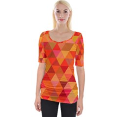 Red Hot Triangle Tile Mosaic Wide Neckline Tee