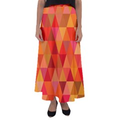 Red Hot Triangle Tile Mosaic Flared Maxi Skirt