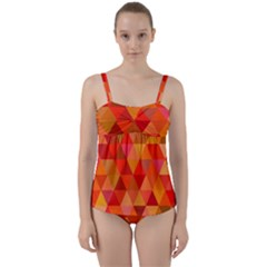 Red Hot Triangle Tile Mosaic Twist Front Tankini Set