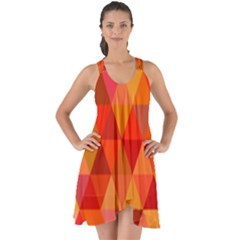 Red Hot Triangle Tile Mosaic Show Some Back Chiffon Dress by Nexatart