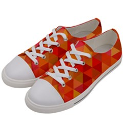 Red Hot Triangle Tile Mosaic Men s Low Top Canvas Sneakers by Nexatart