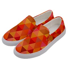 Red Hot Triangle Tile Mosaic Men s Canvas Slip Ons by Nexatart