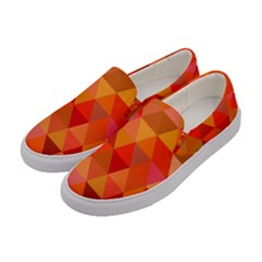 Red Hot Triangle Tile Mosaic Women s Canvas Slip Ons by Nexatart