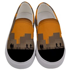 City Buildings Couple Man Women Men s Canvas Slip Ons