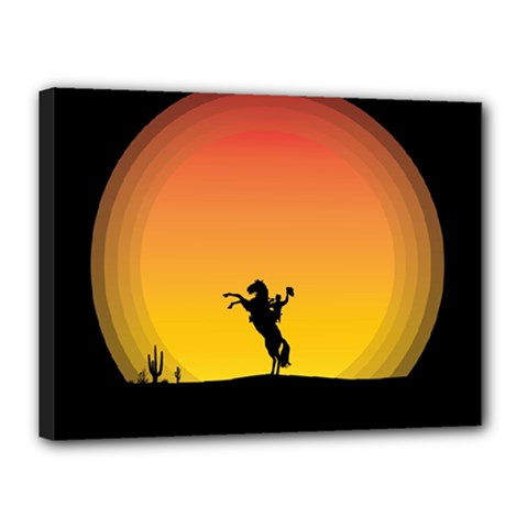 Horse Cowboy Sunset Western Riding Canvas 16  X 12