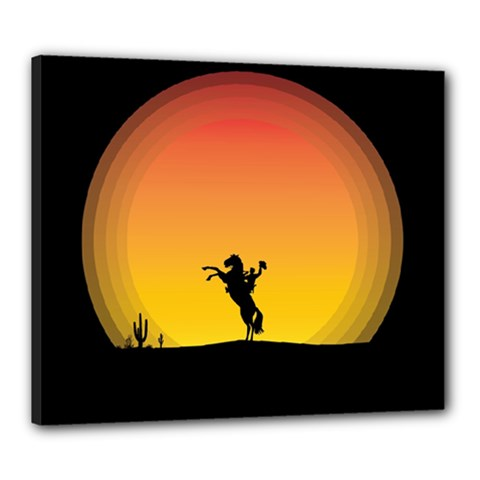 Horse Cowboy Sunset Western Riding Canvas 24  X 20
