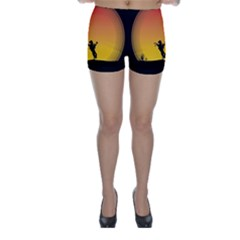 Horse Cowboy Sunset Western Riding Skinny Shorts