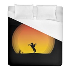 Horse Cowboy Sunset Western Riding Duvet Cover (full/ Double Size) by Nexatart