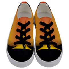 Horse Cowboy Sunset Western Riding Kids  Low Top Canvas Sneakers