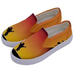 Horse Cowboy Sunset Western Riding Kids  Canvas Slip Ons by Nexatart