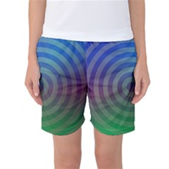 Blue Green Abstract Background Women s Basketball Shorts