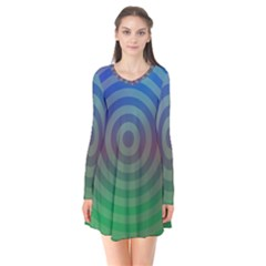 Blue Green Abstract Background Flare Dress