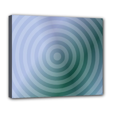 Teal Background Concentric Deluxe Canvas 24  X 20   by Nexatart