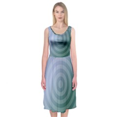 Teal Background Concentric Midi Sleeveless Dress