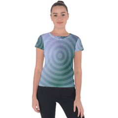 Teal Background Concentric Short Sleeve Sports Top