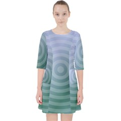 Teal Background Concentric Pocket Dress