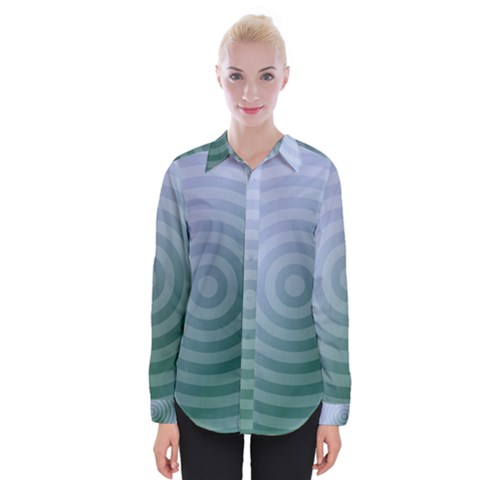 Teal Background Concentric Womens Long Sleeve Shirt by Nexatart