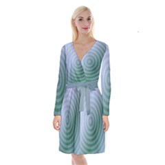 Teal Background Concentric Long Sleeve Velvet Front Wrap Dress