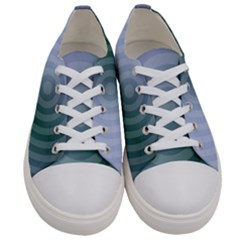 Teal Background Concentric Men s Low Top Canvas Sneakers