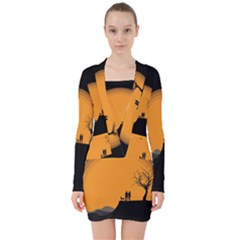 Couple Dog View Clouds Tree Cliff V Neck Bodycon Long Sleeve Dress