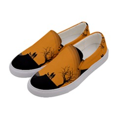 Couple Dog View Clouds Tree Cliff Women s Canvas Slip Ons by Nexatart