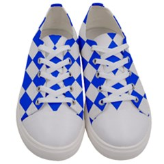 Blue White Diamonds Seamless Men s Low Top Canvas Sneakers