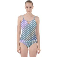 Zigzag Line Pattern Zig Zag Cut Out Top Tankini Set