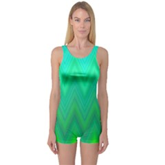 Green Zig Zag Chevron Classic Pattern One Piece Boyleg Swimsuit