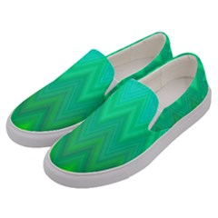 Green Zig Zag Chevron Classic Pattern Men s Canvas Slip Ons by Nexatart
