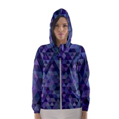 Triangle Tile Mosaic Pattern Hooded Wind Breaker (women)