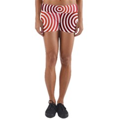 Concentric Red Rings Background Yoga Shorts