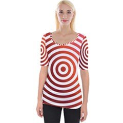 Concentric Red Rings Background Wide Neckline Tee