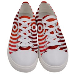 Concentric Red Rings Background Men s Low Top Canvas Sneakers