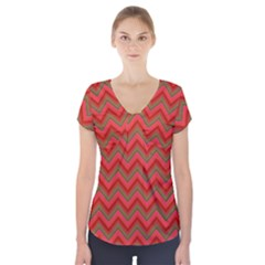Background Retro Red Zigzag Short Sleeve Front Detail Top