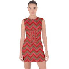 Background Retro Red Zigzag Lace Up Front Bodycon Dress